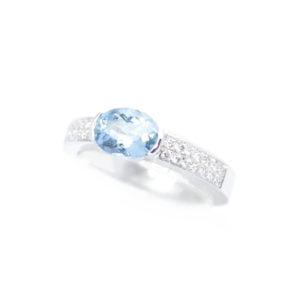 Gabriel Joaillier bague aigue-marine diamants or gris