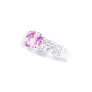Gabriel Joaillier bague saphir rose diamants or gris