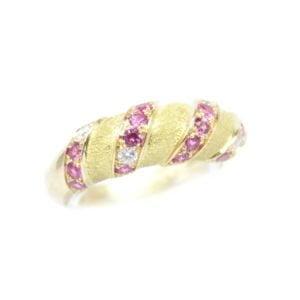 Gabriel Joaillier Toulouse bague Simone or jaune saphir rose diamants